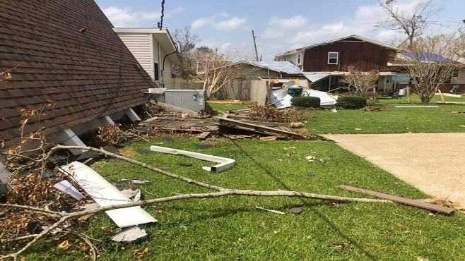 Destruction from Hurricane Laura is pictured above. Energy customers are dealing with loss of power once again after Hurricane Delta made landfall on Friday.
